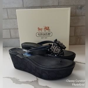 COACH black Norice platform sandals